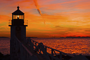 Lighthouse At Sunset Posters - Sunset At Marshall Point Lighthouse At Sunset Maine Poster by Keith Webber Jr