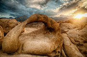 Cloudy Sky Photos - Sunset at Mobius Arch by Cat Connor