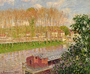 Signed Painting Framed Prints - Sunset at Moret sur Loing Framed Print by Camille Pissarro