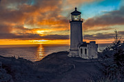 Lighthouse Sunset Posters - Sunset at North Head Poster by Robert Bales