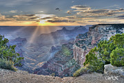 Park Scene Originals - Sunset at Northern Rim of the Grand Canyon by Wanda Krack
