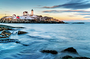 Maine Icons Posters - Sunset at Nubble Light-Cape Neddick Maine Poster by Thomas Schoeller