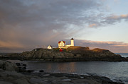 Sohier Park Framed Prints - Sunset at Nubble Light Framed Print by Jatinkumar Thakkar
