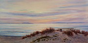 Sand Dunes Painting Framed Prints - Sunset at Pierpont Beach Framed Print by Tina Obrien