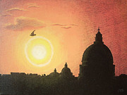 Catholic Art Painting Originals - Sunset at Saint Peters Basilica Rome by Conor OBrien
