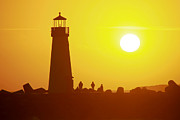 Paul Topp Art - Sunset at Santa Cruz Harbor Lighthouse by Paul Topp