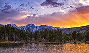 Rocky Mountain National Park Greeting Cards Posters - Sunset at Sprague Lake Poster by Teresa Jack