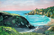 Sonoma County Painting Prints - Sunset at Stump Beach in the Spring Print by Asha Carolyn Young