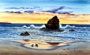Ocean Images Posters - Sunset At Sunset Cliffs Poster by John YATO