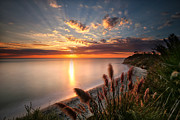 California Seascape Prints - Sunset at Swamis Beach 7 Print by Larry Marshall