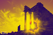 Archeological Sight Prints - Sunset at Temple of Apollo  Print by Augusta Stylianou