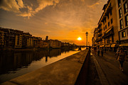 San Rafael Church Prints - Sunset at the Arno 2 Print by Arnaldo Torres