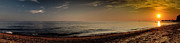 New England Ocean Prints - Sunset at the Beach Panorama Print by Sabine Jacobs