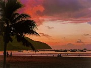 Fishing Village Digital Art - Sunset at the Beach - Puerto Lopez - Ecuador by Julia Springer