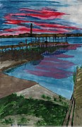 Placid Drawings - Sunset at the Lake Clay Boat Ramp by Beverly Marshall