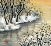 Cherry Blossoms Painting Originals - Sunset at the lake by Tomoko Koyama