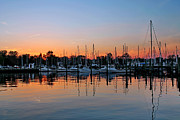 Docked Sailboats Posters - Sunset at the Marina Poster by Francie Davis