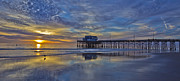 Skates Prints - Sunset at the Newport Pier Print by Harold Vaagan