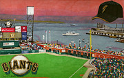 Baseball Stadiums Drawings Prints - Sunset at the Park Print by Cory Still