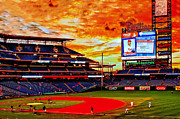 Philadelphia Phillies Stadium Photo Posters - Sunset at the Phillies Poster by Nick Zelinsky