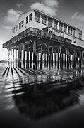Ocean Front Landscape Posters - Sunset At The Pier BW Poster by Susan Candelario