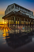 Ocean Front Landscape Posters - Sunset At The Pier Poster by Susan Candelario