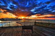 Deck Digital Art - sunset at the port of Tel Aviv by Ron Shoshani