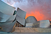 Sunset At The Walt Disney Concert Hall In Downtown Los Angeles. Print by Jamie Pham