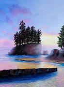 Shelley Irish Painting Metal Prints - Sunset at Tongue Point Metal Print by Shelley Irish