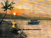 Melly Terpening Paintings - Sunset At Tropical Island by Melly Terpening