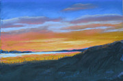Cape Cod Pastels Originals - Sunset at Wellfleet Harbor by Jan Rooney