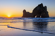Stacks Prints - Sunset at Wharariki New Zealand Print by Colin and Linda McKie