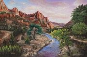 Zion Paintings - Sunset at Zion by Eve  Wheeler