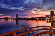 Florida Bridges Photo Prints - Sunset Balcony of the West Palm Beach Skyline Print by Debra and Dave Vanderlaan