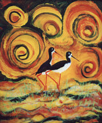 Bird Glass Art Posters - Sunset Ballet Poster by Anna Skaradzinska