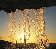 Faouzi Taleb - Sunset Behind Waterfall