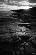 New England Lighthouse Prints - Sunset Beyond Black and White Print by Lourry Legarde