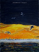 Rays Paintings - Sunset birds by Sonali Gangane