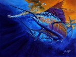 Sailfish Painting Framed Prints - Sunset Bite Framed Print by Mike Savlen