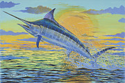 Marlin Azul Framed Prints - Sunset Blue Off0085 Framed Print by Carey Chen