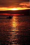 Boaters Prints - Sunset Boaters Print by Mike Nellums