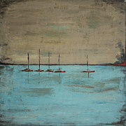 Water Vessels Paintings - Sunset Boats by Ben and Raisa Gertsberg