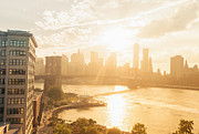 New York City Skyline Art - Sunset - Brooklyn Bridge - New York City by Vivienne Gucwa