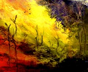 Setting Mixed Media Prints - Sunset Burnt Landscape Print by Sandra Sengstock-Miller