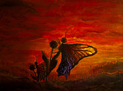 Silhouettes Painting Prints - Sunset Butterflies Print by Adriana Groza