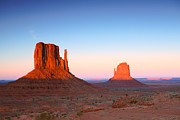 States Pyrography Posters - Sunset Buttes in Monument Valley Arizona Poster by Katrina Brown