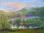 Bethel Painting Posters - Sunset by the Lake Poster by Patricia Kimsey Bollinger