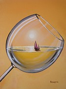 Wine Reflection Art Painting Prints - Sunset Chardonnay Print by Ksusha Scott