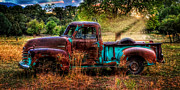 Chevy Truck Posters - Sunset Chevy Pickup Poster by Ken Smith