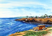 Awesome Painting Framed Prints - Sunset Cliffs Ocean Beach Framed Print by John YATO